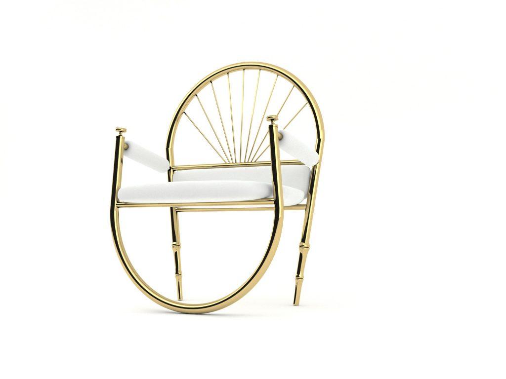 gold metal sandalye
