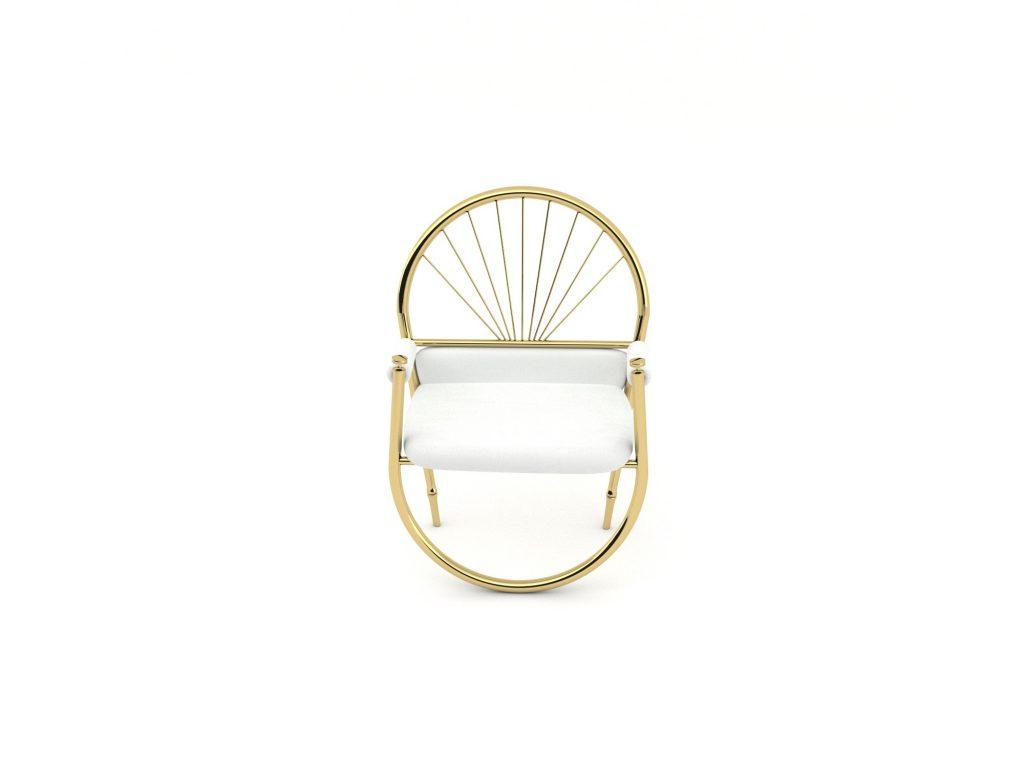 Reversed gold metal sandalye