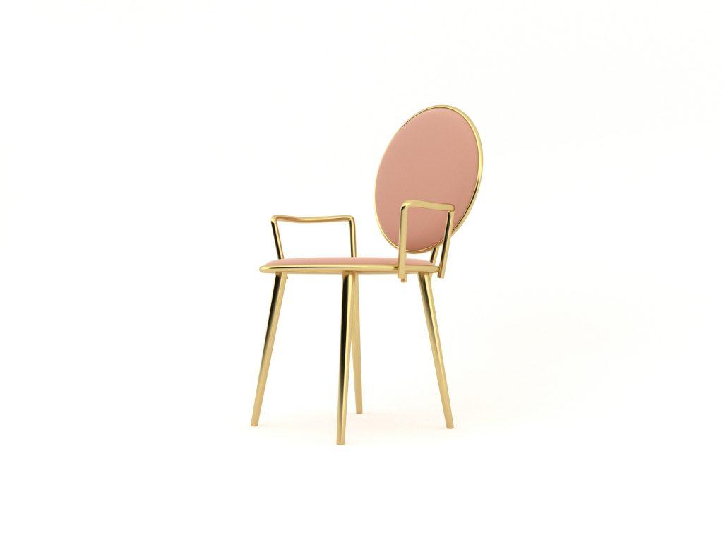 Pem gold metal sandalye